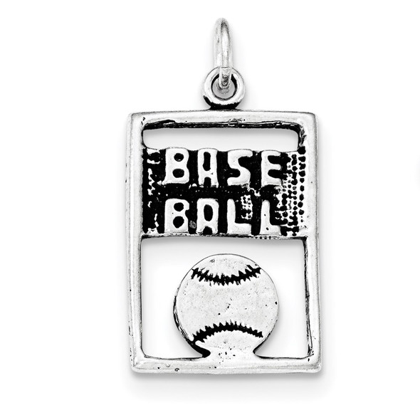 Sterling Silver Antiqued Baseball Rectangle Charm