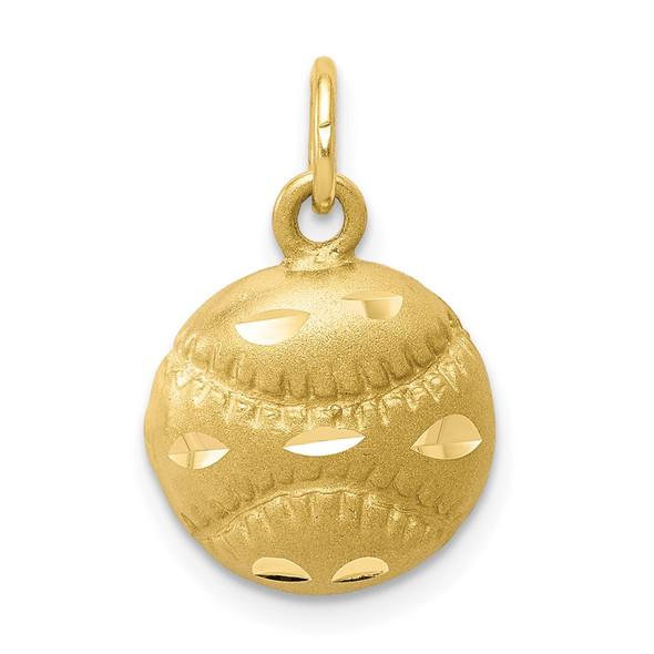 10k Yellow Gold Baseball Charm 10C188
