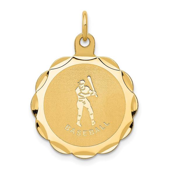 14k Yellow Gold Baseball Disc Charm