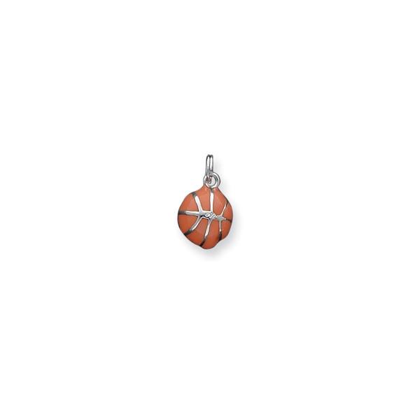 Sterling Silver 3D Orange Enameled Basketball Charm
