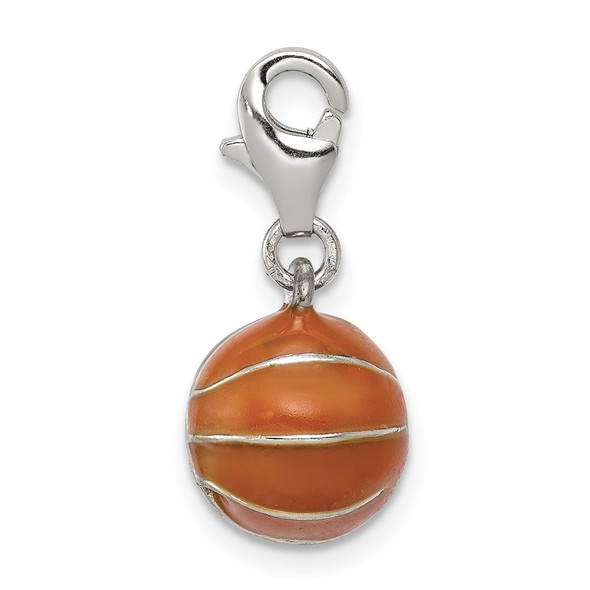 Sterling Silver 3D Enameled Basketball w/Lobster Clasp Charm