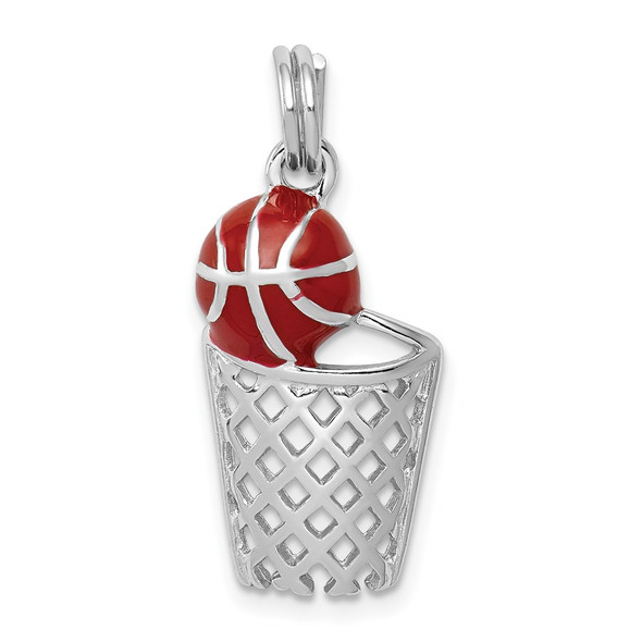 Rhodium-Plated Sterling Silver Enamel Basketball and Hoop Charm