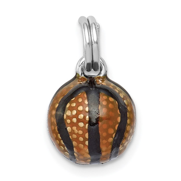 Sterling Silver Rhodium-plated 3D Enamel Basketball Charm