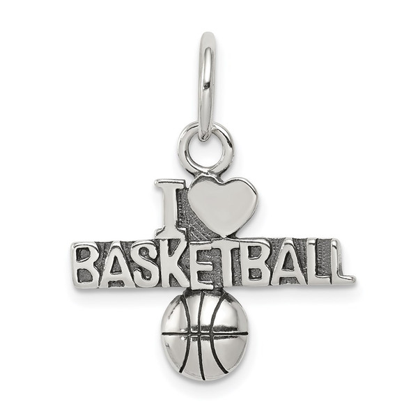 Sterling Silver Antiqued I (Heart) Basketball Charm