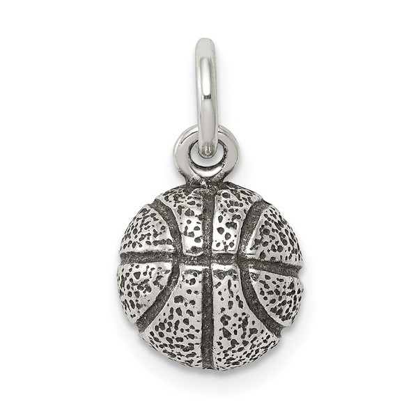 Sterling Silver Antiqued Basketball Charm QC7918