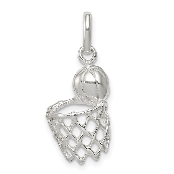 Sterling Silver Basketball In Hoop Charm QC7132