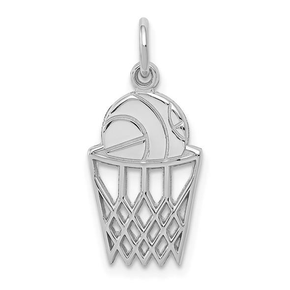 14K White Gold Basketball Charm