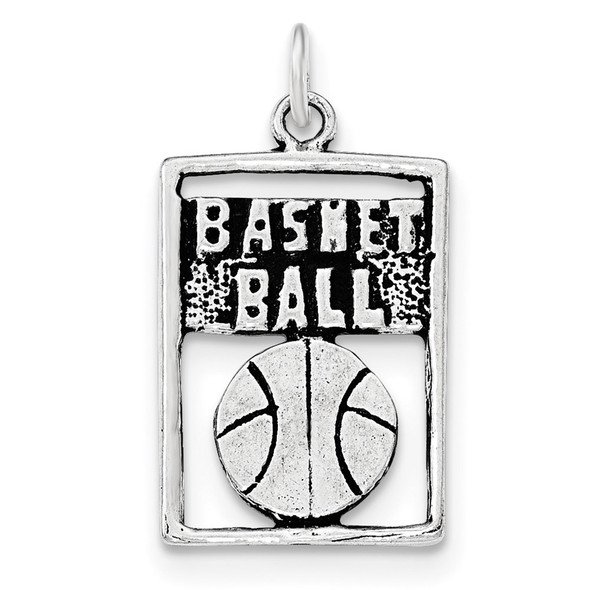 Sterling Silver Antiqued Basketball Rectangle Charm