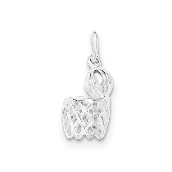 Sterling Silver Polished Diamond-Cut Basketball And Hoop Charm