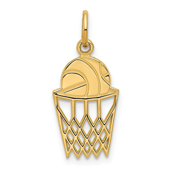 14k Yellow Gold Basketball In Net Charm
