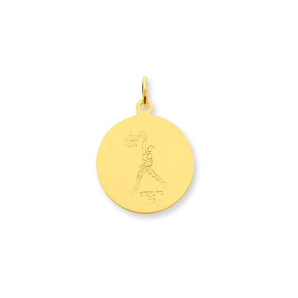 Gold-Plated Sterling Silver St. Christopher Basketball Medal Charm