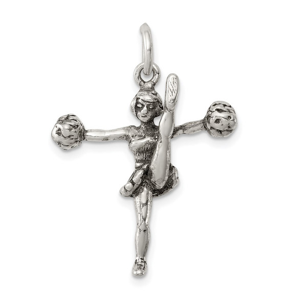 Sterling Silver Antiqued Cheerleader Charm QC7790