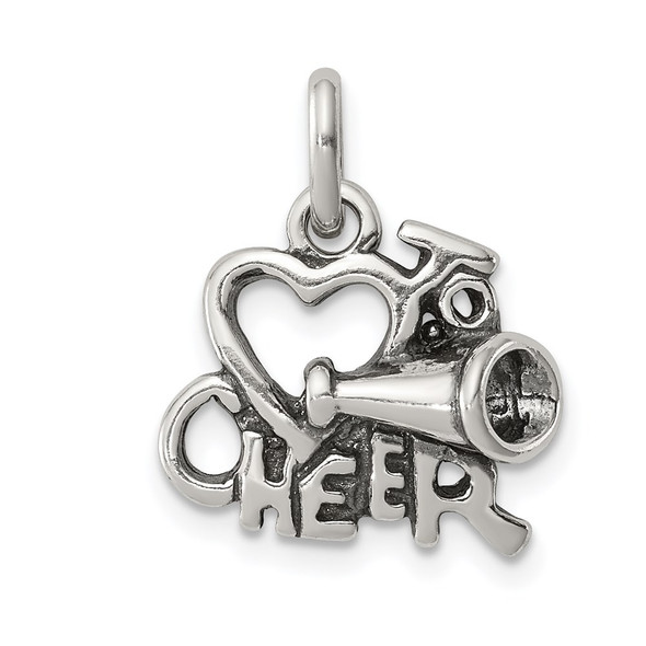 Sterling Silver Polished Antiqued I Love Cheer Charm