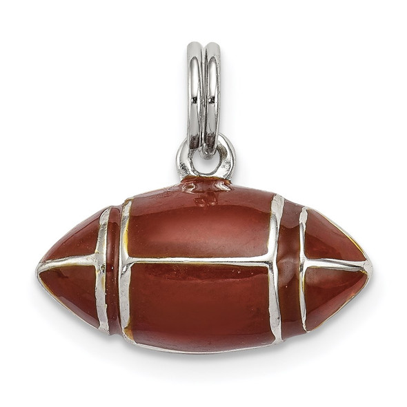 Sterling Silver Rhodium-plated 3D Brown Enameled Football Charm