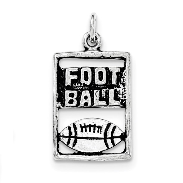 Sterling Silver Antiqued Football Rectangle Charm