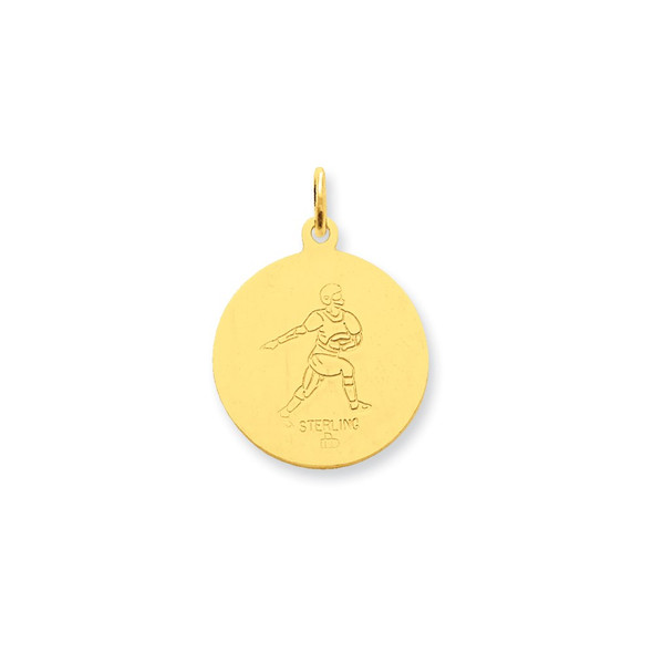 Gold-Plated Sterling Silver St. Christopher Football Medal Charm