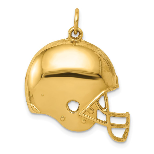 14k Yellow Gold Polished Football Helmet Charm