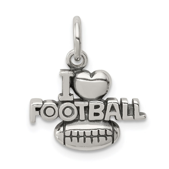 Sterling Silver Antiqued I (Heart) Football Charm