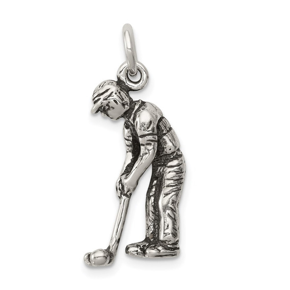 Sterling Silver Antiqued Golfing Charm