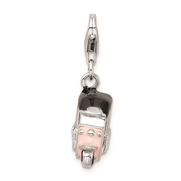 Sterling Silver Enameled Pink 3D Golf Cart Charm