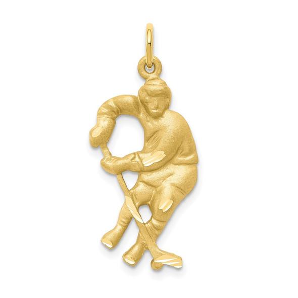 10k Yellow Gold Hockey Player Charm