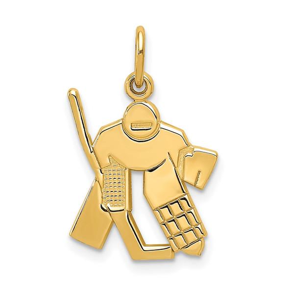 14k Yellow Gold Hockey Goalie Charm
