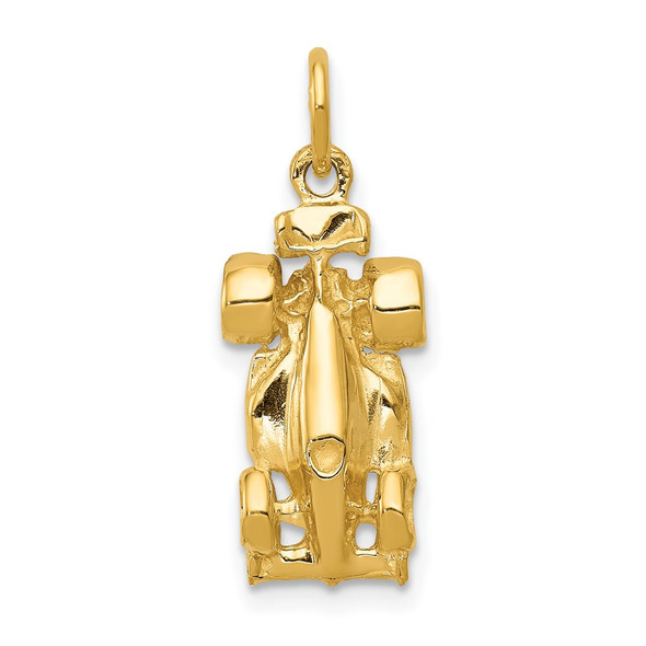 14k Yellow Gold 3-D Race Car Charm