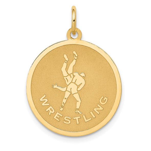 14k Yellow Gold WRESTLING Disc Charm