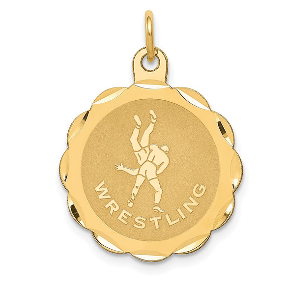 14k Yellow Gold  WRESTLING Scalloped Edge Disc Charm