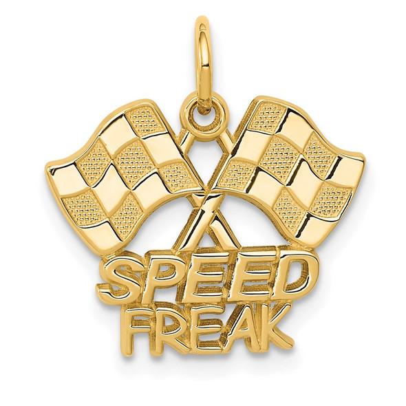 14k Yellow Gold Racing Flags w/Speed Freak Charm