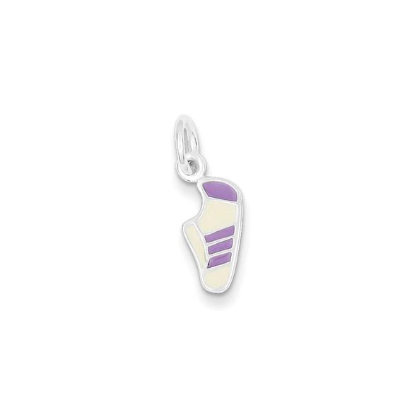 Sterling Silver Purple Enameled Sneaker Charm