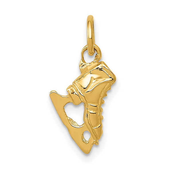 14k Yellow Gold 3D Ice Skate Charm