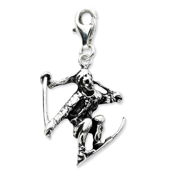 Sterling Silver 3-D Antiqued Skier w/Lobster Clasp Charm QCC657