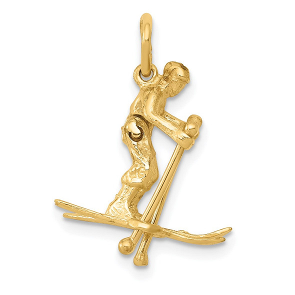14k Yellow Gold 3D Moveable Snow Skier Charm
