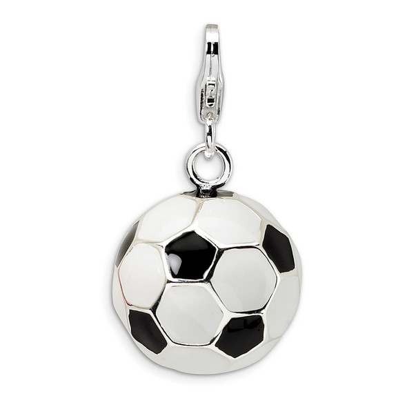 Sterling Silver 3-D Enamel Soccer Ball w/Lobster Clasp Charm