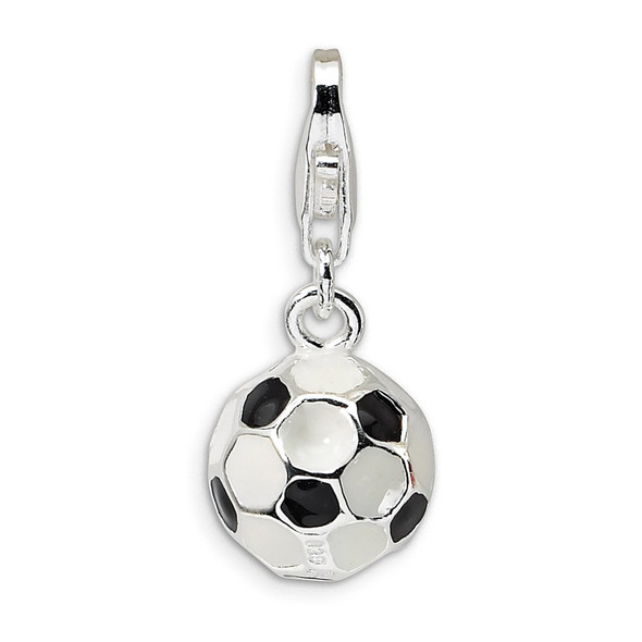 Sterling Silver 3-D Enameled Small Soccer Ball w/Lobster Clasp Charm