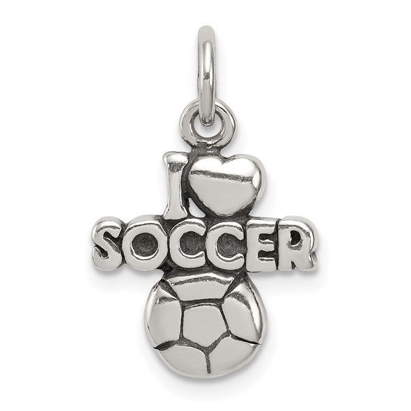 Sterling Silver Antiqued I (Heart) Soccer Charm