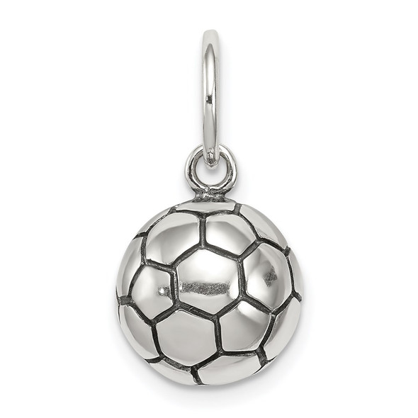 Sterling Silver Antiqued Soccer Ball Charm QC5135