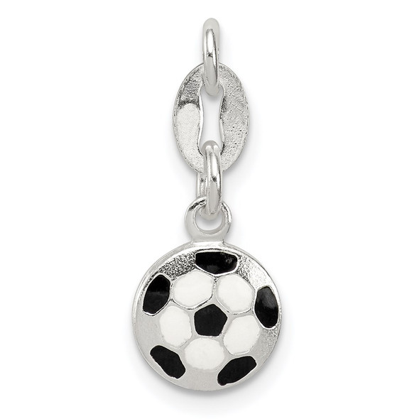 Sterling Silver Enameled Soccer Ball Charm QC6476