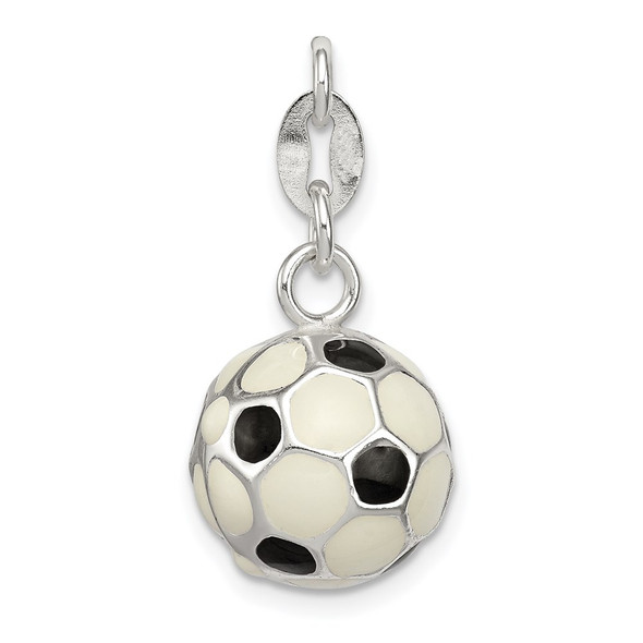 Sterling Silver Enameled Soccer Ball Charm QC7145