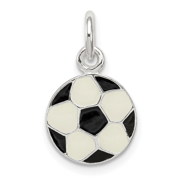 Sterling Silver Enameled Soccer Ball Charm QC6477