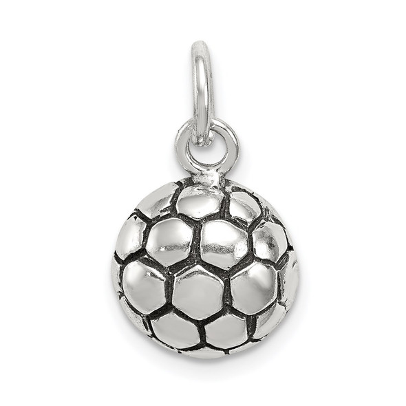 Sterling Silver Antiqued Soccer Ball Charm QC7799