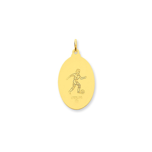 Gold-Plated Sterling Silver Saint Christopher Soccer Medal Charm