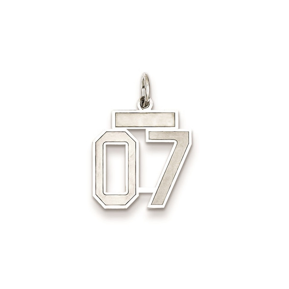 Sterling Silver Small Satin Number 7 With Top Bar Charm