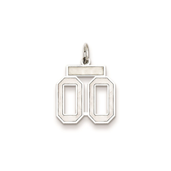 Sterling Silver Small Satin Number 00 With Top Bar Charm