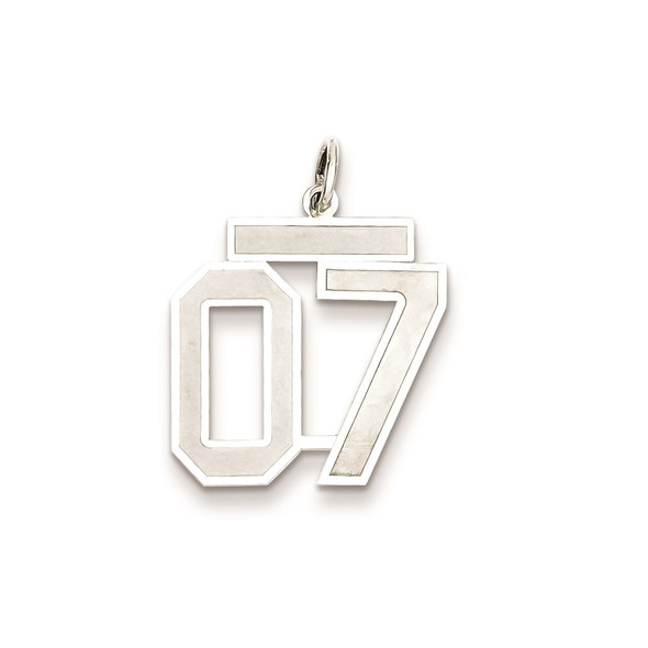 Sterling Silver Medium Satin Number 7 w/Top Charm