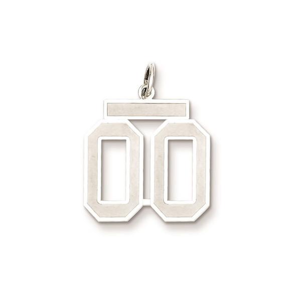 Sterling Silver Medium Satin Number 00 Charm
