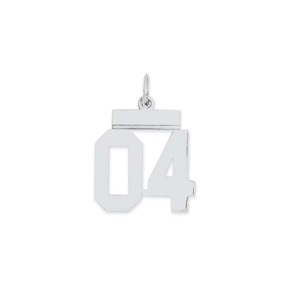 Sterling Silver Small Polished Number 04 w/Top Bar Charm