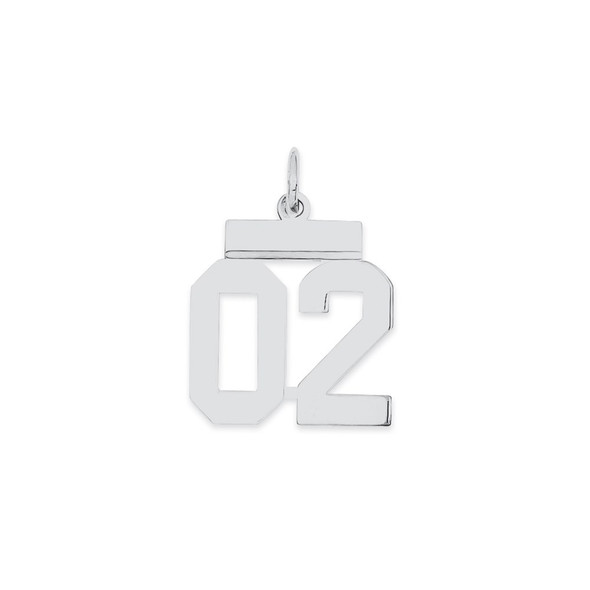 Sterling Silver Small Polished Number 02 w/Top Bar Charm