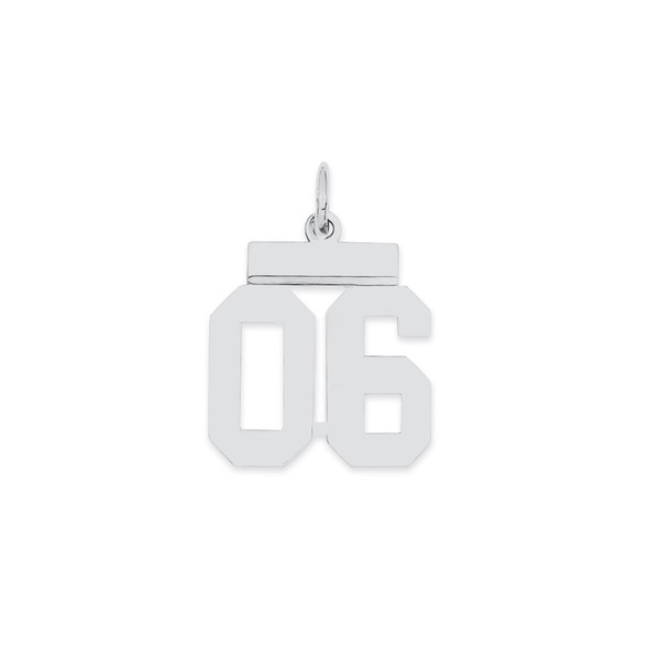 Sterling Silver Small Polished Number 06 w/Top Bar Charm